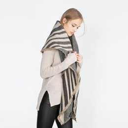 Wholesale Oversized Scarf Pattern - 2016 Brand Winter Stripe Pattern Cashmere Women oversized Soft Scarf Shawl, Wrap