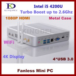 Wholesale Intel Hd I5 - Wholesale-Brand new mini pc barebone system intel i5 4200U USB 3.0 300M WIFI dual PC antennas Bluetooth HDMI+VGA dual display HTPC 4K HD
