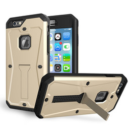 Wholesale Shell Holder Plastic - Rugged Armor Splashproof Case For iPhone 5 5S SE 6 6s plus ShockProof With Stand Holder Cover PC Shell 1 PC UP