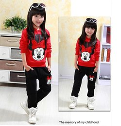 Wholesale Sport Wear Kids Girls - baby girls clothing sets cartoon minnie mouse winter children's wear cotton casual tracksuits kids clothes sports suit
