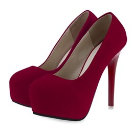 Wholesale Purple High Heels For Wedding - Sexy Solid Color Suede Ladies Round Toe Stiletto Thin High Heels Female Faux Suede Zip Red Bottom Shoes For Woman Plus Size+B