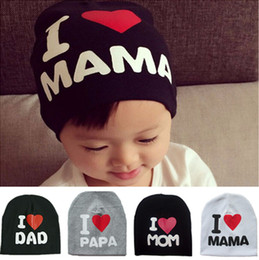 Wholesale Toddler Sun Hat Wholesale - Baby Kids Warm Knitted Beanie Hat Printed Letters I LOVE DAD MOM PAPA MAMA Skullies Hats For Toddler