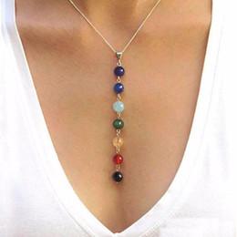 Wholesale Beautiful Womens - 2016 New Fashion 7 Chakra Beads Pendant Necklace Yoga Reiki Healing Balancing Necklace Beautiful Gift for Girls Womens cc