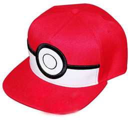 Wholesale Red Hat Charms - Cartoon Poke mon ball Cosplay Cap Red Novelty Anime Pocket Monster ladies dress Poke Hat charms Costume Baseball cap