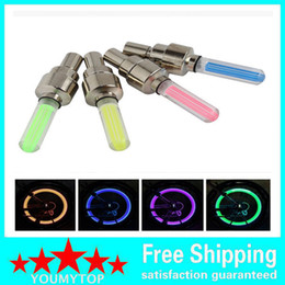 Wholesale neon lights for wheels - 500pcs lot Firefly Spoke LED Wheel Valve Stem Cap Tire Motion Neon Light Lamp For Bike Bicycle Car Motorcycle Selling by youmytop