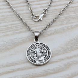 Wholesale Antiqued Chain Wholesale - MIC 20pcs Antiqued Silver Alloy Saint St Benedict of Nursia Patron Against Evil Medal Charm Pendant necklace Clavicle chain c11