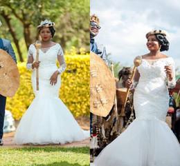 Wholesale Outdoor Castle - 2018 New Elegant Arabic Bridal Mermaid Wedding Dresses Sheer Lace Sweep Train Tulle Outdoor Vintage African Bridal Wedding Gowns