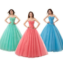 Wholesale Dresses For Sweet 16 - Cheap Ball Gowns Quinceanera Dresses for Girls 2017 Sweet 15 16 Yearls Beading Floor Length Tulle Corset Fast Shipping Prom Gowns