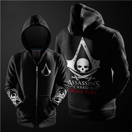 Wholesale Black Assassins Creed Hoodie - Wholesale-Fashion Cosplay Costume Fleece Lined Coat Hooded Jackets Assassins Creed Hoodie Black Grey