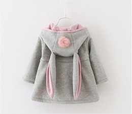 Wholesale Baby Coats Ears - 2016 New Autumn Winter Baby Girls Rabbit Ears Hooded Princess Jacket Coats Infant Girl Cotton Outwear Cute Kids Jackets Christmas Gifts