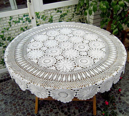 Wholesale Round Handmade Tablecloth - Round crochet tablecloth, Vintage crochet table cover, handmade table topper for home decor ~ Color and Size Options