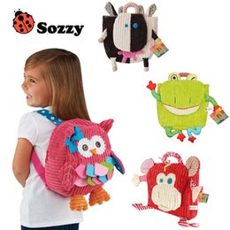 Wholesale Toddlers Fabric Backpack - 2016 25cm Children SOZZY School Bags Lovely Cartoon Animals Backpacks Baby Plush Shoulder Bag Schoolbag Toddler Snacks Book Bags Kids Gift