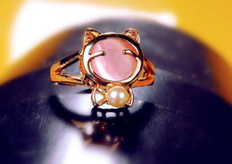 Wholesale opal rings sale - Hot Sale Opal Pearl Lovely Cat Ring Fashion Jewelry Ring for Women Girl Ladies Finger Ring Golden Plated Rings White Pink Jewellry Accessory