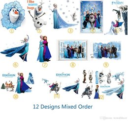 Wholesale Decorative Wall Decals Removable - DHL Ship Mix Order Removable Elsa Frozen Wall Stickers Olaf Decoration Princess Decorative Wall Decall for Kids Rooms Poster Wall Pape Art