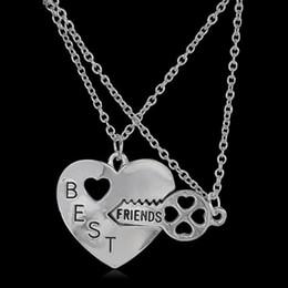 Wholesale Steel Couple Necklace - Letter Best Friend Friendship Heart Key Silver Necklace Pendant Couple BFF Alloy Necklace Jewelry Pendant Necklaces Fashion Womens Chain