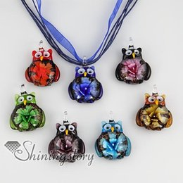 Wholesale Blown Flower Glass Pendant Necklace - lass bottle necklace pendant Owl flower inside glitter Italian venetian lampwork blown murano glass pendants for necklaces jewelry cheap ...