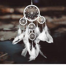 colgantes marfil Rebajas Vintage hecho a mano Dream Catcher Feather Wind Chimes lujo marfil Bead colgante blanco boda fiesta de Navidad decoración