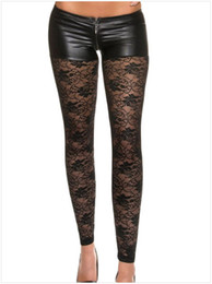 Wholesale Lace Slimming Pants For Women - White Metallic Shorts Attached Sexy Lace Leggings Zippered Adult Leggings Slim Pencil Pants For Women 79880