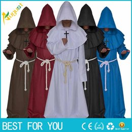 Wholesale Medieval Movie - New hot 2017 Halloween Comic Con Party Cosplay Costume Monk Hooded Robes Cloak Cape Friar Medieval Renaissance Priest Men For Men