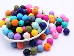 Wholesale Wholesale Silicone Bead Necklaces - Wholesale 9MM 100PCS Random Mix Color BPA Free DIY Round Silicone Chew Beads Safety Teething Teether Beads Baby Necklace&Bracelet Made