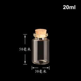 Wholesale Chinese Bamboo Glasses - 100pcs lot 20ml Mini glass wish bottle for gift, 30x50mm message bottle