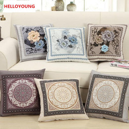Wholesale Chinese Cushions Covers - BZ034 Luxury Cushion Cover Pillow Case Home Textiles supplies Lumbar Pillow Chinese Peony Pillow case chair seat