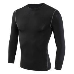 Wholesale Gray Black Jersey - Men's Long Sleeve T-shirts Compression Clothing Elastic Autumn Spring Tees Shirt Fitness Wear Jerseys Plus Size XXXL Black Gray