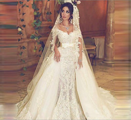 Wholesale Simple Mermaid Dress Ruffles - Vintage Overskirts Wedding Dresses Train Off Shoulder Sash Mermaid Lace Wedding Dress With Detachable Tulle Train Count Train Bridal Gowns