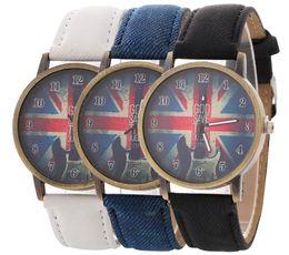 Wholesale Ladies Uk - NEW fashion women leather UK flag GOD SAVE THE QUEEN watch wholesale casual ladies cowboy retro dress quartz watches