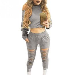 Wholesale Short Suits For Ladies - Women Sexy Two Piece Set Tracksuit Top And hole Pants Ladies Casual off shoulder blouse Suits Sweatsuits For Women 2017 Spring