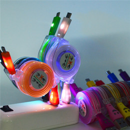Wholesale Usb Cable Led Retractable - LED Colorful Smile retractable data line USB Charging Cable Micro USB Can be Retail and Wholesale