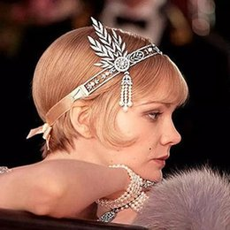 Wholesale Band Ring Hair Accessory - Vintage Great Gatsby Silver Crystals Rhinestone Pearls Headbands Hair Bands Headpieces Bridal Wedding Jewelries Accessories