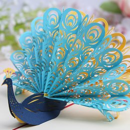 Wholesale Wholesale Invitation Paper Supplies - Wholesale- Wedding Decoration Supplies Creative 3D stereo Three-dimensional Paper Carving Peacocks Birthday Party Wedding Invitation Card