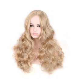 Wholesale Platinum Long Wigs - womens wavy synthetic wigs hair heat resistant platinum long blonde wig cosplay