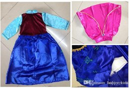 Wholesale Kids Long Tutu Skirt Ankle - Children Dress Ice and Snow Children Dress Girls Ice and Snow Anna Princess Dress Kids Vintage and Long Sleeve Skirt Attached to the Cape