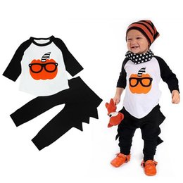 Wholesale Wholesale Shirts For Kids - Halloween Baby Boy Cosplay Set Clothes 2016 New Autumn Birthday Outfit For Kid Children Pumpkin Pattern Shirt Top+Harem Pant Suit Tracksuit