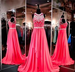 Wholesale Sparkle Empire Dress - Hot Pink Chiffon Prom Dress High Neckline Illusion Back Crystals Evening Dress Embellished with Sparkling Beading Pageant Dress