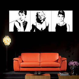 Wholesale Wall Paintings Without Frames - Art-Large Classic Marilyn Monroe and Audrey Hepburn Picture Painting on Canvas Print without Framed, Modern Home Decorations Wall Art