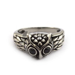 Wholesale Stone Rings Designs Men - Lastest Design Ring Gift For Men Owl Ring With 2 Black Stone Eyes Free Shipping Fashion Animal Casting Ring
