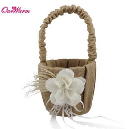Wholesale Natural Baskets - Natural Jute Burlap Hessian Ribbon Lace Wedding Flower Basket Flower Girl Basket with Rhinestones Wedding Decoration Supplies <$16 no tracki
