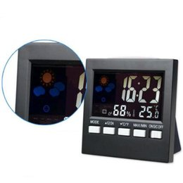 Wholesale Digital Thermometer Hygrometer Clock - Hot Digital Weather Station Household Thermometer Thermograph Alarm Clock Multi-function Indoor Thermometer Hygrometer HTC-1 CCA7071 50pcs