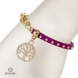 Wholesale Jade Jewelry Bracelets - New & fashion The life of tree charm unisex bracelets infinity bangle velvet purple hand link chain jewelry infinity wholesales