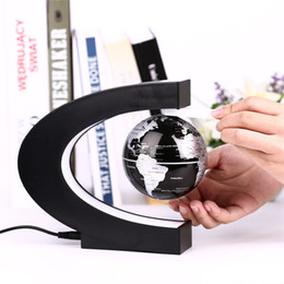 Wholesale Magnetic Levitation Floating Globe World - Novelty C Shape LED World Map Floating Globe Magnetic Levitation Light Antigravity Magic Novel Lamp Birthday Home Dec Night lamp