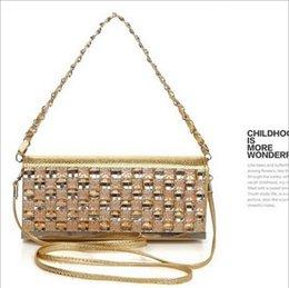 Wholesale Gray Clutch Handbag - Diamond drill clutch handbag with diamond dinner ladies handbag shoulder diagonal chain bag Black gold sliver gray B37