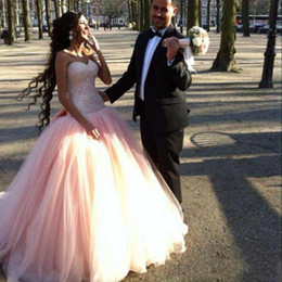 Wholesale quinceanera dress hot pink - Hot Pink Ball Gown Quinceanera Dresses Lace-up Sequin Beaded Sweetheart Custom Made Quinceanera Gowns vestidos de 15 anos Prom Dresses