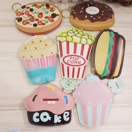 Wholesale Pink Popcorn - Multicolor Cute Food PU Coin Purse Ice cream Key case Card holders Cute Cartoon Doughnut Cake Pizza Popcorn pouch Kids coin purse pendants