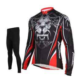 Wholesale Cube Long Jersey - Tasdan Cube Cycling Jersey Set Tiger Pattern Thermal Long Sleeve Suits Men Clothing Pants Warm Soft Bike Wear