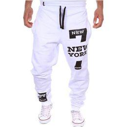 Wholesale Baggy Slacks - Wholesale-New Men's Casual Letter Sweatpants Baggy Harem Slacks Joggers Trousers Jogger Dance Sportwear 19