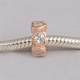 Wholesale Sterling Spacer Beads - Authentic 925 Sterling Silver Beads Rose Gold Space In My Heart Spacer Charm,Clear CZ Fits European Pandora Style Jewelry Bracelets