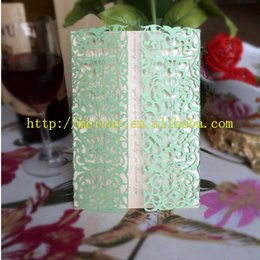 Wholesale Green Invitation Cards - Wholesale- Mint green color wedding invitation,baby shower invitation cards from Mery China